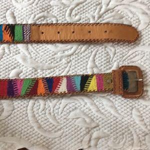 Vintage Embroidered Leather BoHo Belt. /Guatemala